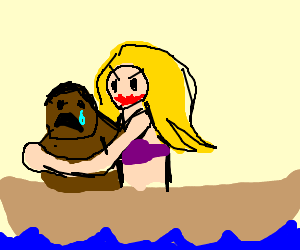 Blonde Woman molests black child on boat