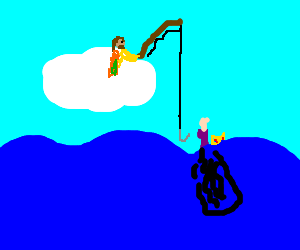 Cloud riding hippie saves drowning queen
