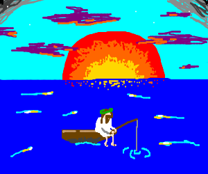 Jesus, fishing as the sun sets over sea