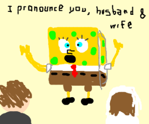 Spongebob priest celebrating a marriage
