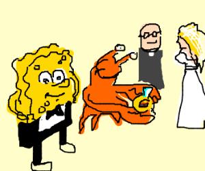 Spongebob best man of Mr Crabs wedding
