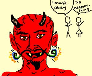 The devil tempts man and woman w/ stache