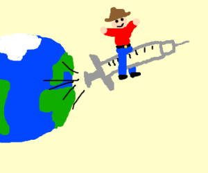 Leaving earth on a syringe