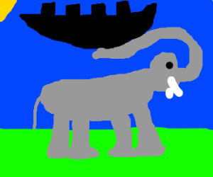 Giant elephant lifts ship with its trunk