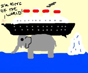 Elephant holding Titanic