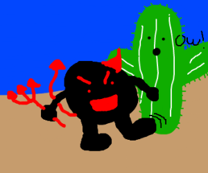One-horn black devil kicks giant cactus