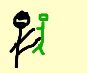 Ninja kicks confederate zombie