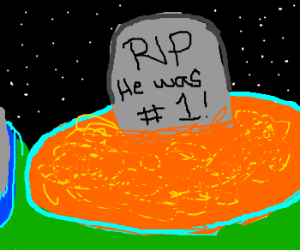 gravestone coming out of orange portal