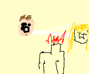 Whistling man removes girls head