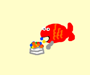 Red fish eating dipin' dots