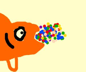 Goldfish guzzling gazillions of gumballs