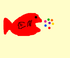 Red fish eat rainbow food