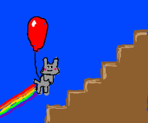 Cat balloon climbs some stairs.