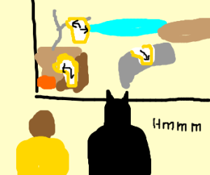 Batman admires Salvador Dali's paintings