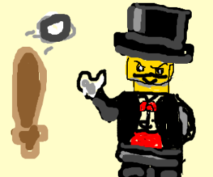 Lego gentleman considers baseball bat