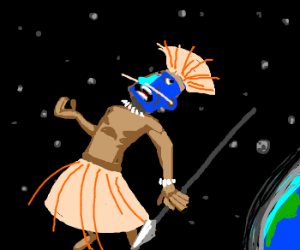 Tribal man IN SPACE