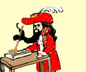 Captain Hooks uses a beard rake