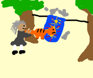 Old crone uses cat as carpet beater