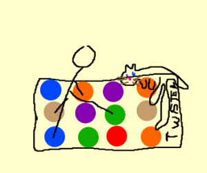 Man playing twister with a cat