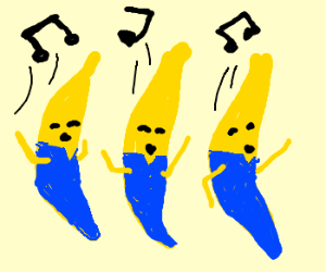 two bananas in blue pyjamas are singing