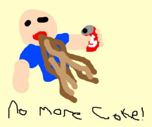 Man speet coke on the floor.