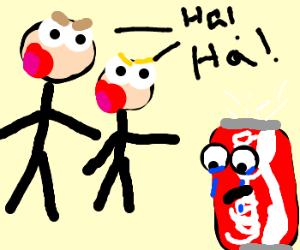 Kids ridicule sad fizzing coke