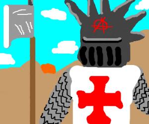 Medieval soldiers appreciate punk art