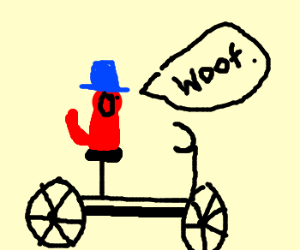 Red Dog with Blue Hat on a Bike