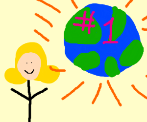 Blonde with best planet in background