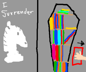 Knight surrenders; empty library coffin.