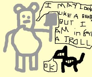 Troll wins an argument with a zebra.