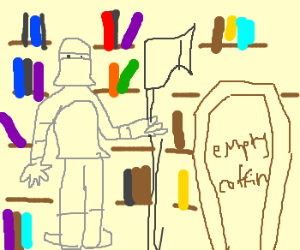 Knight in library with empty coffin