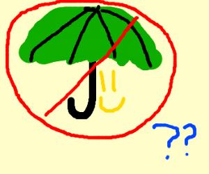 no smiling under umbrela?