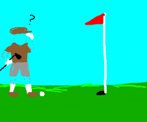 Invisble man confused by golfing