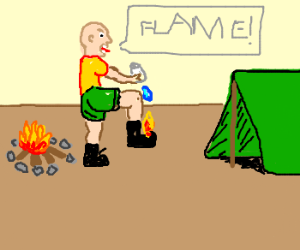 There's a flame on my boot!
