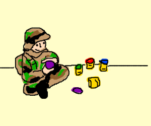 US Soldier plays with Play-Doh