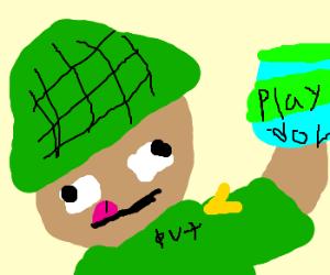 Commando has fun with play-doh
