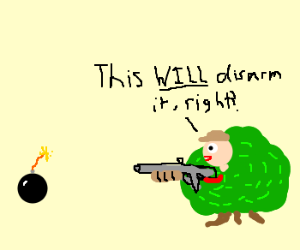 Guy in bushes shooting a bomb