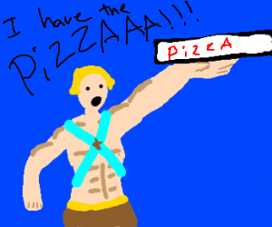 Heman delivering pizza