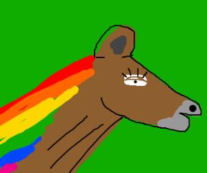 Horse with rainbow mane flutters e/lash