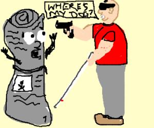 blind man has newspaper at gunpoint