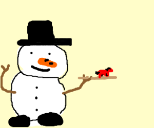 Frosty carries small, red horse on twig