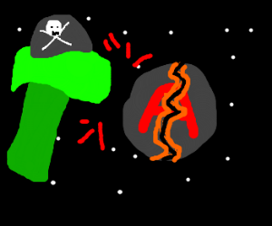 GreenSpacePirateHammer smashes planet A