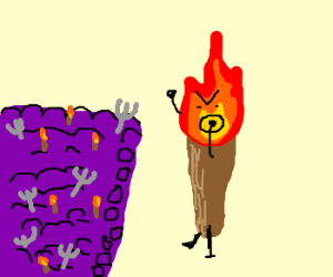 The human torch flaming an angry mob