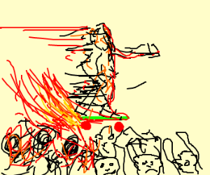 Firey skateboard of death crowdsurfs
