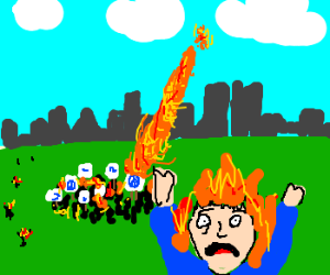 Human torch sets a protest group on fire