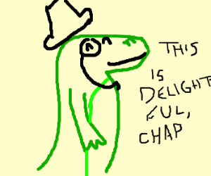 A gentlemanly lizard is most delighted