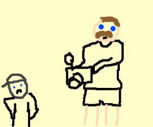 Pedostacheman steals children's camera