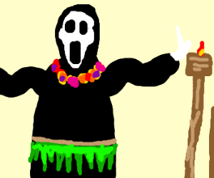 Scream killer as a hula dancer