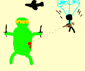 Turtled being attacked by parachuter